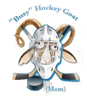 Hockey mom goat wearing helmet with hockey sticks