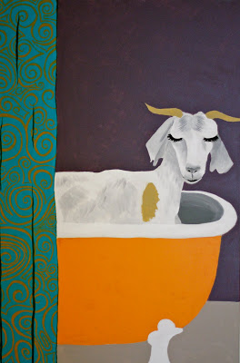 Goat in the bath