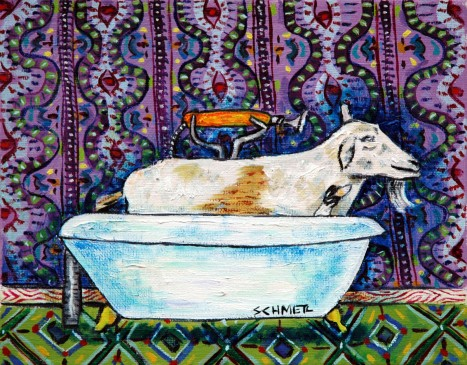 Goat in bathtub